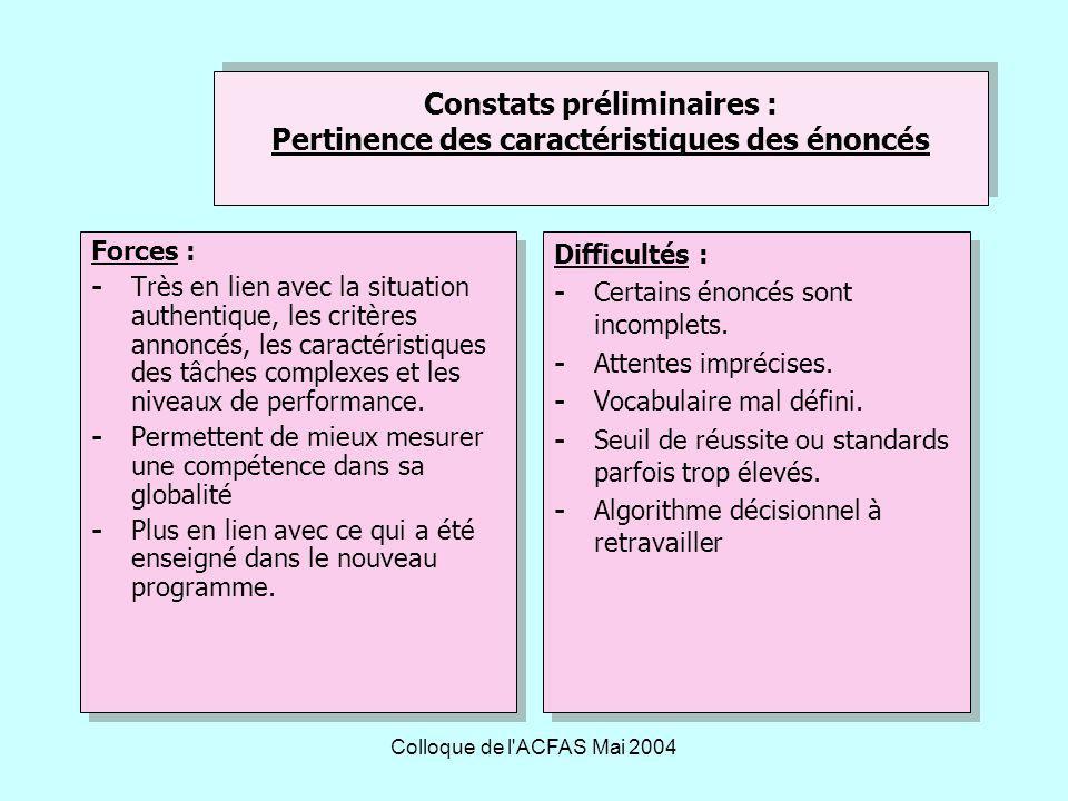 Constats préliminaires : Pertinence des caractéristiques des énoncés
