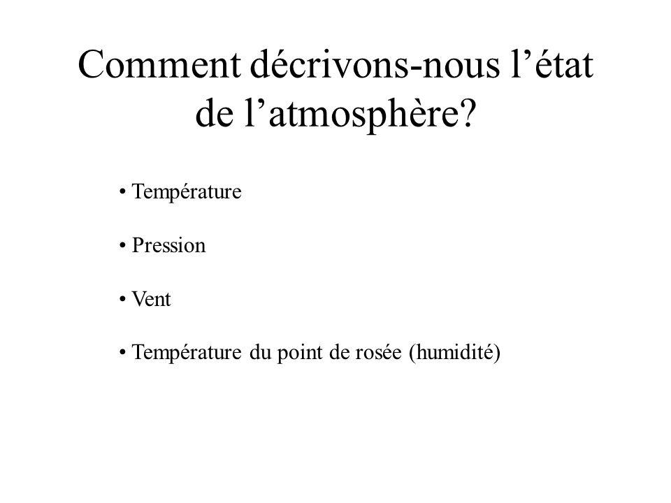 Comment décrivons-nous l'état de l'atmosphère
