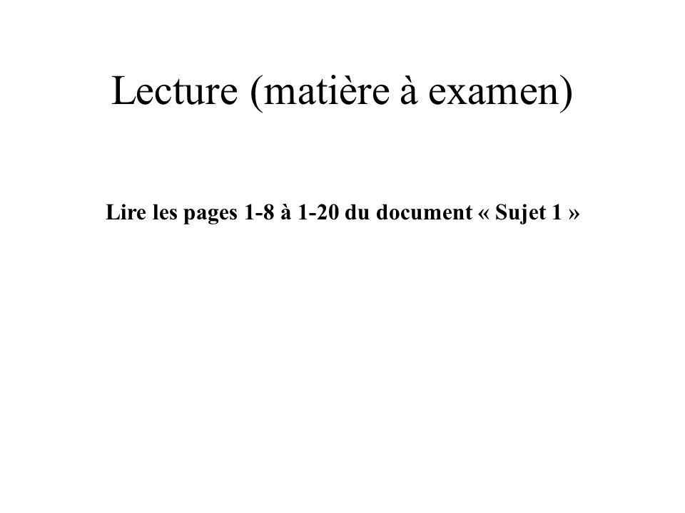 Lecture (matière à examen)