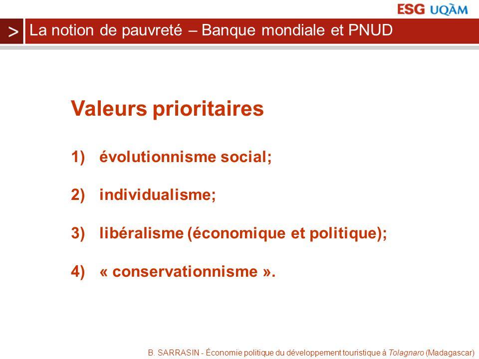 Valeurs prioritaires La notion de pauvreté – Banque mondiale et PNUD