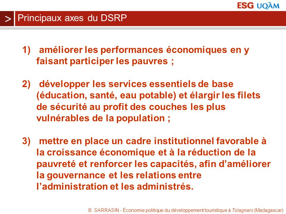 Principaux axes du DSRP