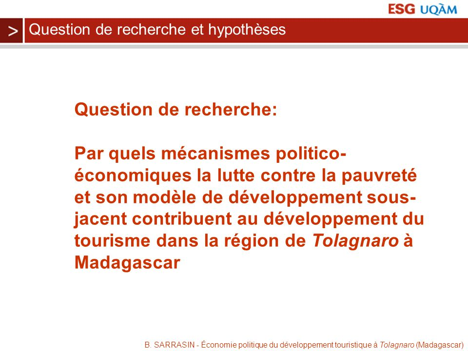 Question de recherche:
