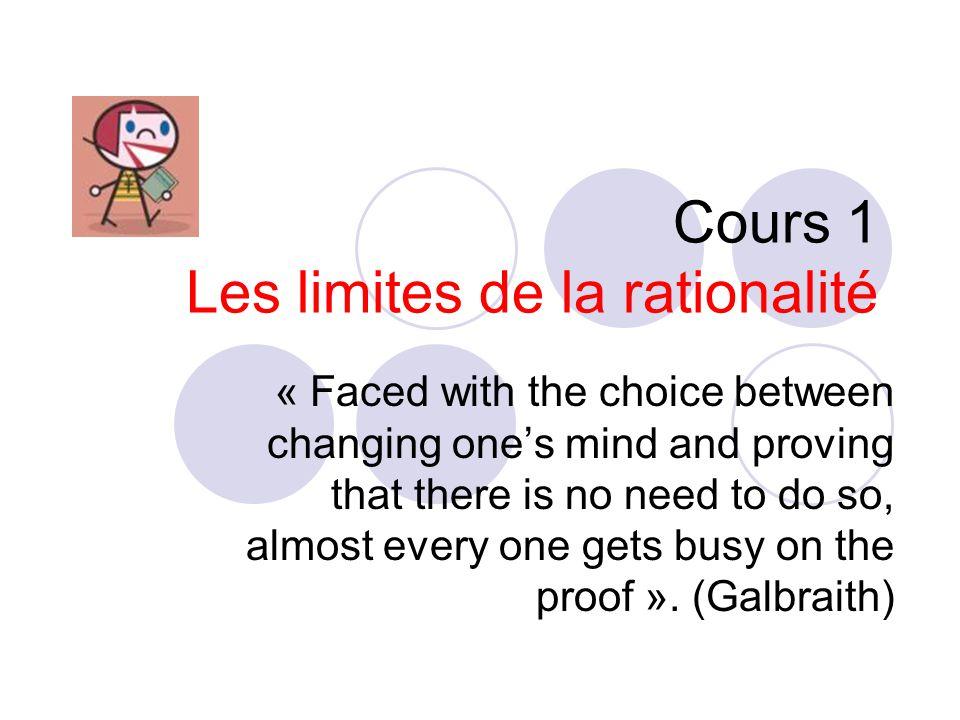 Cours 1 Les limites de la rationalité