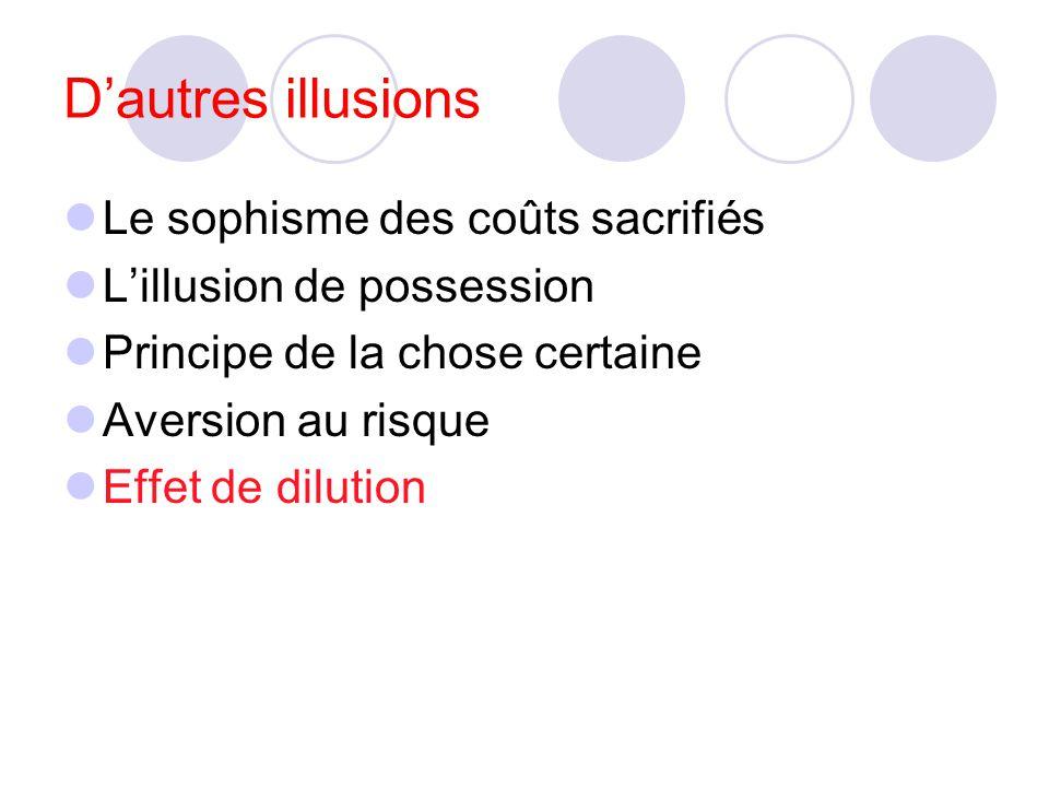 D'autres illusions Le sophisme des coûts sacrifiés