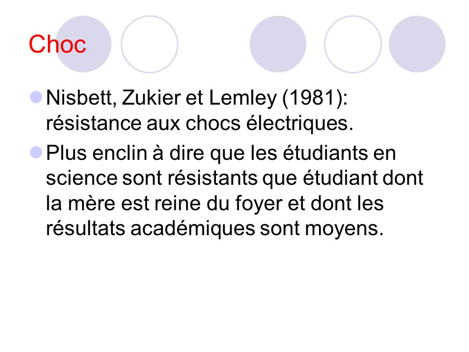 Choc Nisbett, Zukier et Lemley (1981): résistance aux chocs électriques.