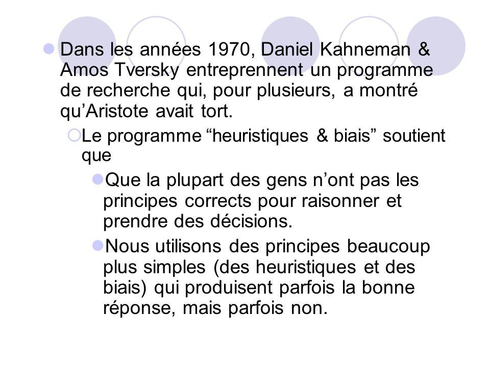 Dans les années 1970, Daniel Kahneman & Amos Tversky entreprennent un programme de recherche qui, pour plusieurs, a montré qu'Aristote avait tort.