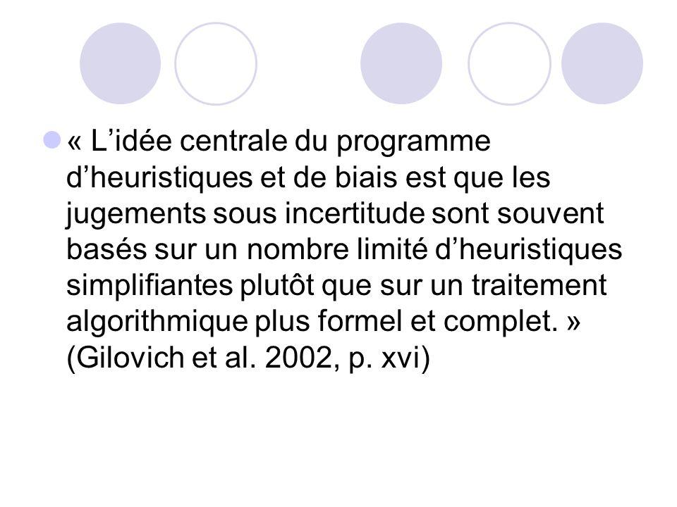 « L'idée centrale du programme d'heuristiques et de biais est que les jugements sous incertitude sont souvent basés sur un nombre limité d'heuristiques simplifiantes plutôt que sur un traitement algorithmique plus formel et complet. » (Gilovich et al.