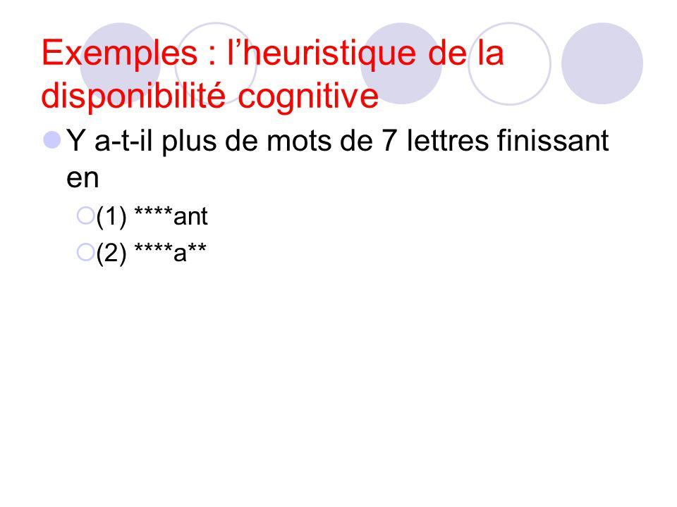 Exemples : l'heuristique de la disponibilité cognitive