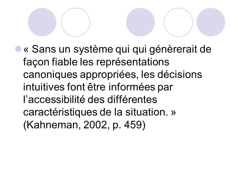 « Sans un système qui qui génèrerait de façon fiable les représentations canoniques appropriées, les décisions intuitives font être informées par l'accessibilité des différentes caractéristiques de la situation. » (Kahneman, 2002, p.