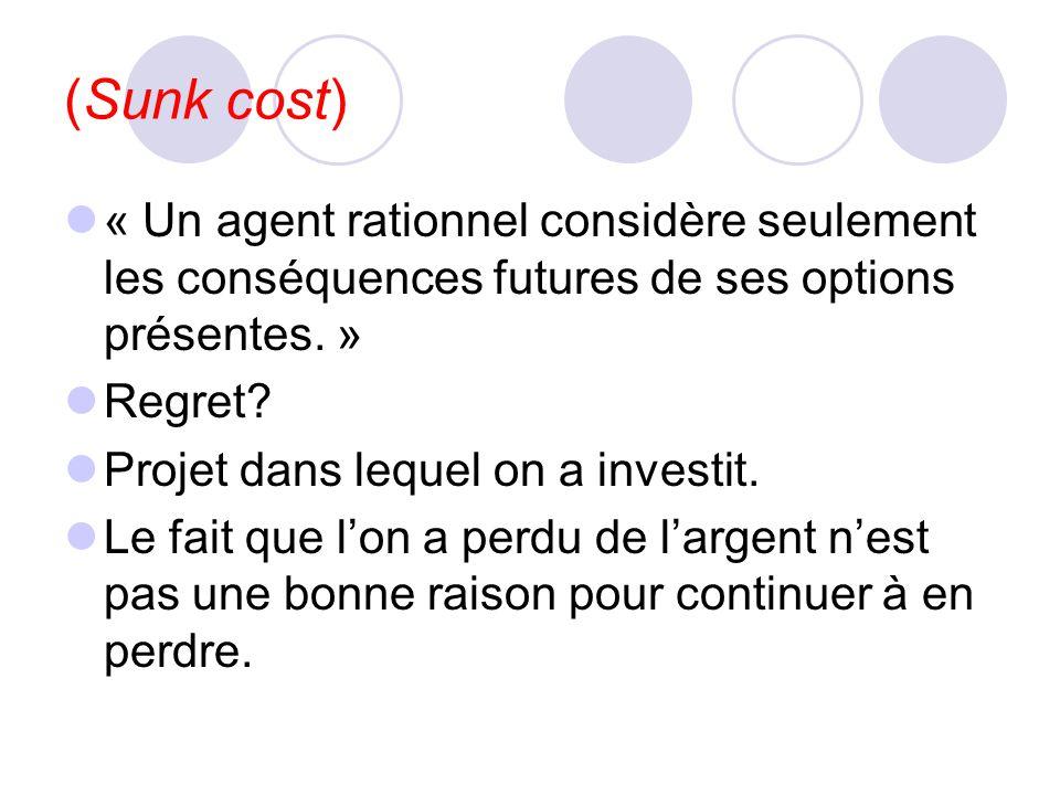 (Sunk cost) « Un agent rationnel considère seulement les conséquences futures de ses options présentes. »
