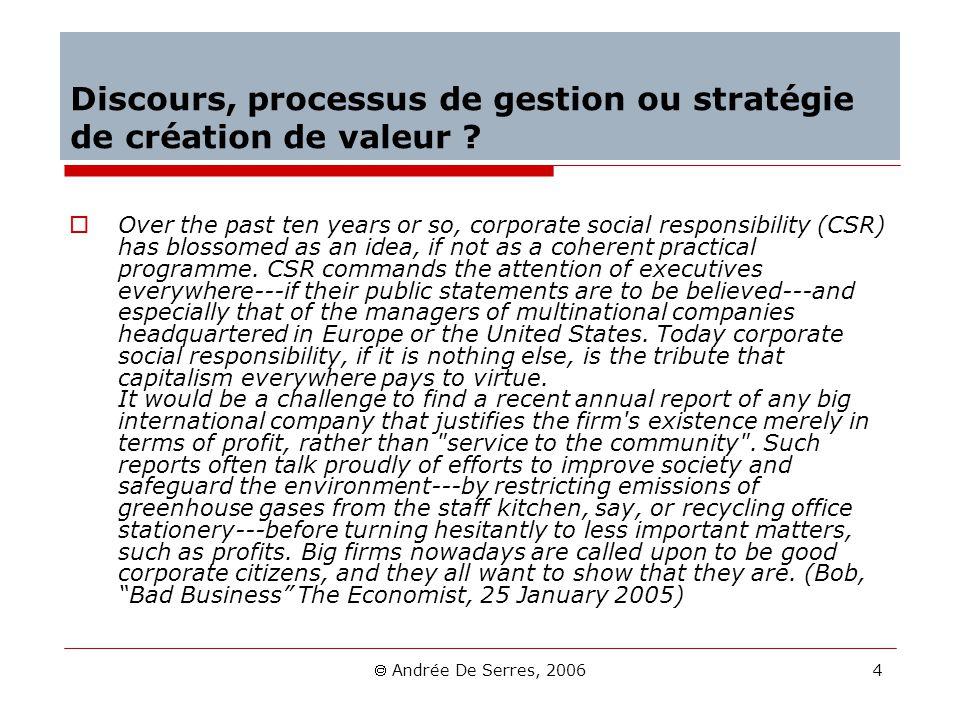 Discours, processus de gestion ou stratégie de création de valeur