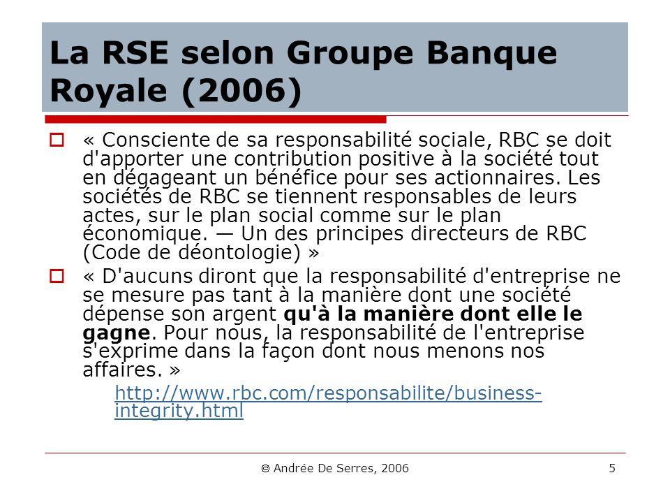 La RSE selon Groupe Banque Royale (2006)