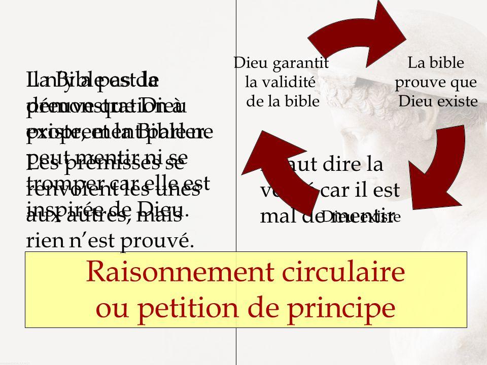 Raisonnement circulaire ou petition de principe