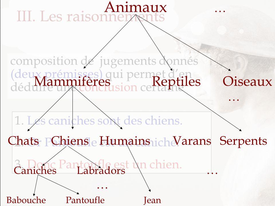 III. Les raisonnements Mammifères Reptiles Oiseaux Animaux … …