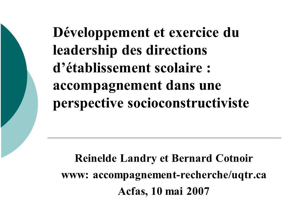 Développement et exercice du leadership des directions d'établissement scolaire : accompagnement dans une perspective socioconstructiviste