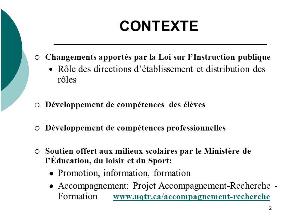CONTEXTE Rôle des directions d'établissement et distribution des rôles