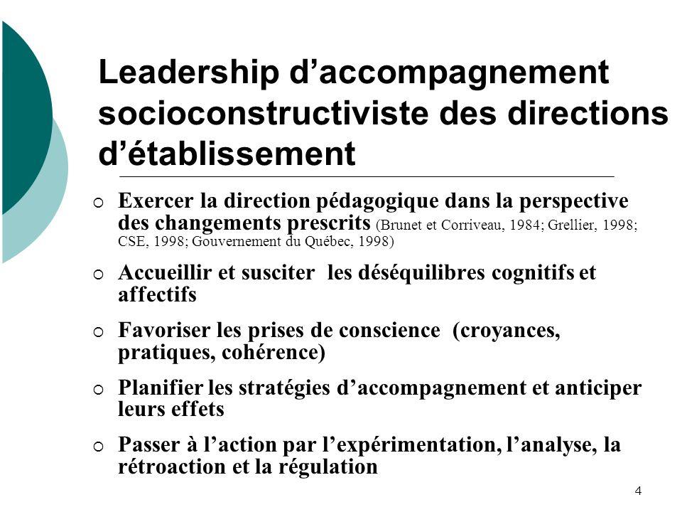 Leadership d'accompagnement socioconstructiviste des directions d'établissement