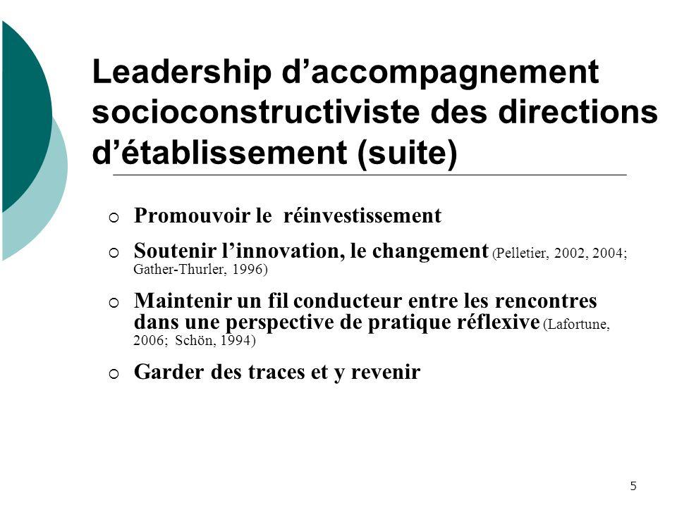 Leadership d'accompagnement socioconstructiviste des directions d'établissement (suite)