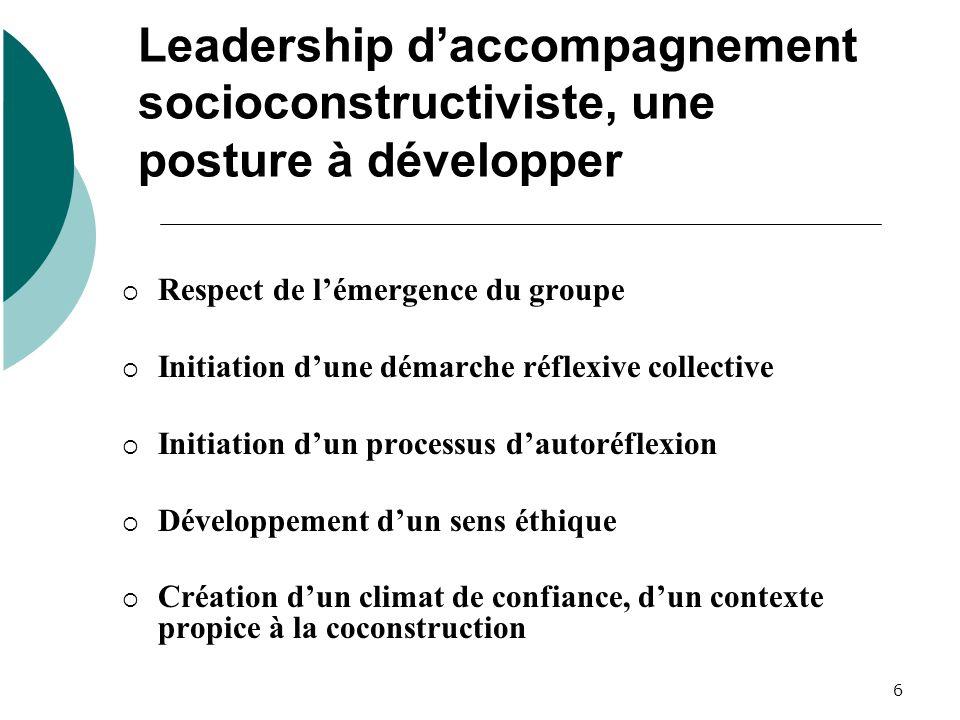 Leadership d'accompagnement socioconstructiviste, une posture à développer