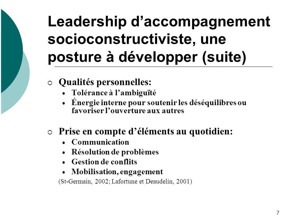 Leadership d'accompagnement socioconstructiviste, une posture à développer (suite)