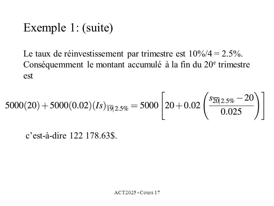 Exemple 1: (suite) Le taux de réinvestissement par trimestre est 10%/4 = 2.5%. Conséquemment le montant accumulé à la fin du 20e trimestre est.