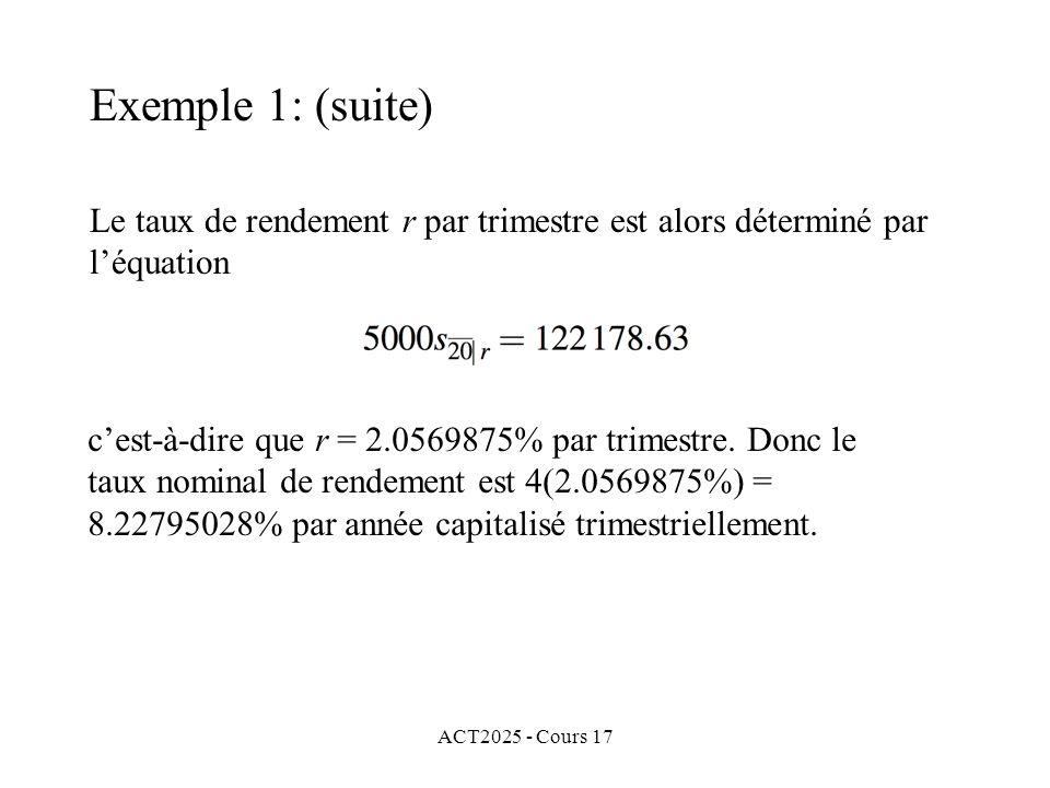 Exemple 1: (suite) Le taux de rendement r par trimestre est alors déterminé par l'équation. c'est-à-dire que r = 2.0569875% par trimestre. Donc le.
