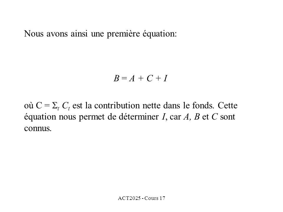 Nous avons ainsi une première équation: