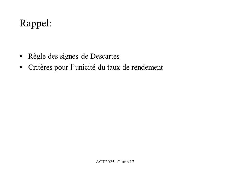 Rappel: Règle des signes de Descartes