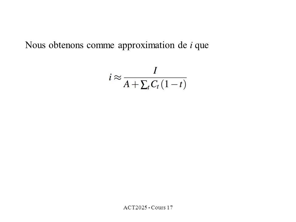 Nous obtenons comme approximation de i que