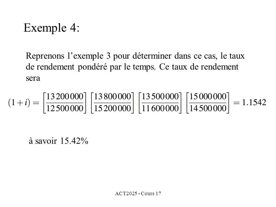 Exemple 4: Reprenons l'exemple 3 pour déterminer dans ce cas, le taux de rendement pondéré par le temps. Ce taux de rendement sera.
