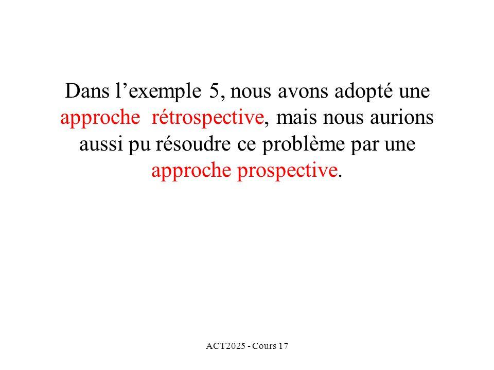 Dans l'exemple 5, nous avons adopté une approche rétrospective, mais nous aurions aussi pu résoudre ce problème par une approche prospective.