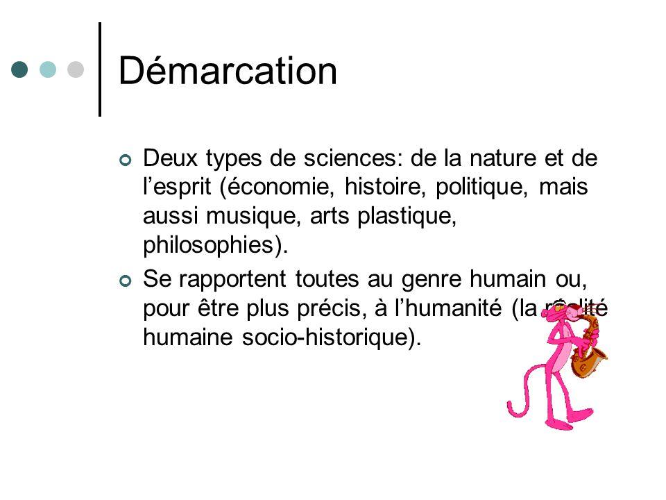 Démarcation Deux types de sciences: de la nature et de l'esprit (économie, histoire, politique, mais aussi musique, arts plastique, philosophies).