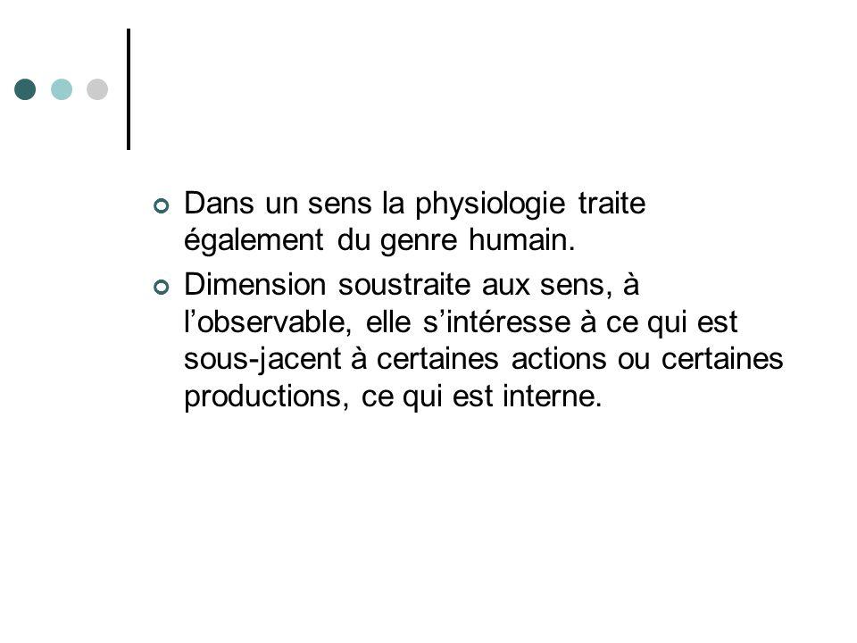 Dans un sens la physiologie traite également du genre humain.