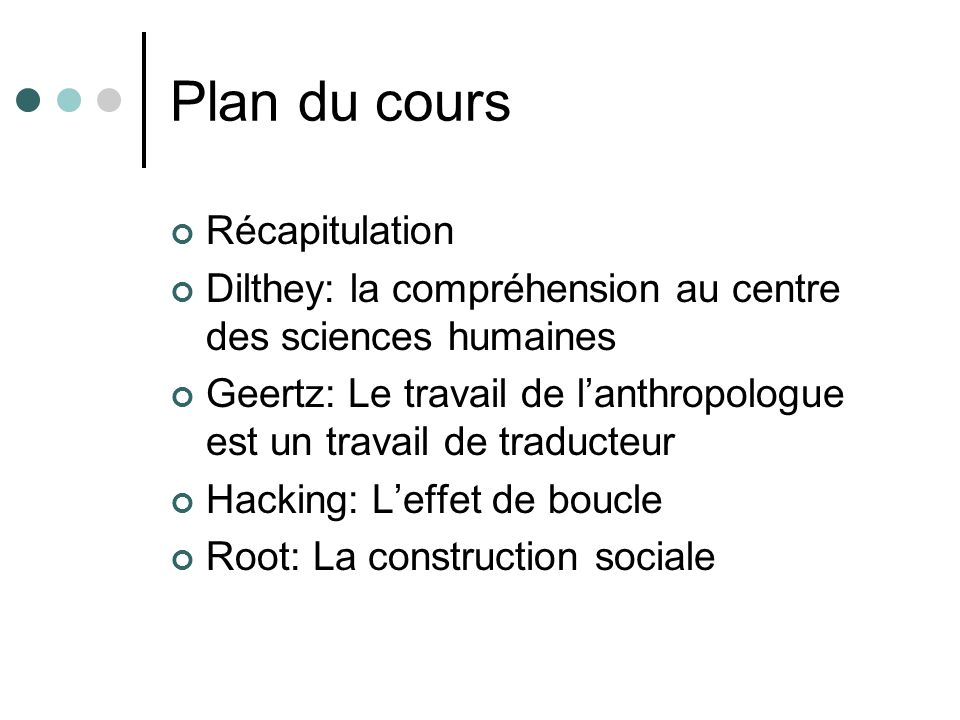 Plan du cours Récapitulation