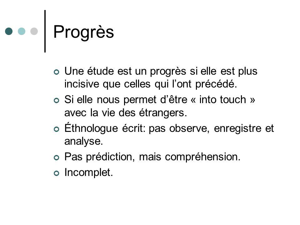 Progrès Une étude est un progrès si elle est plus incisive que celles qui l'ont précédé.