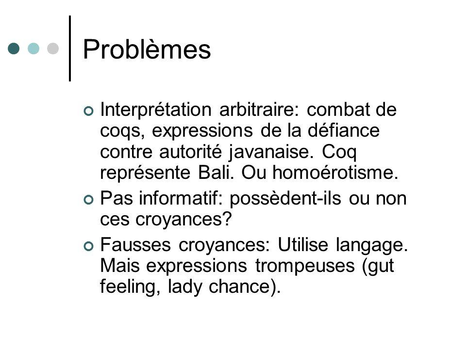 Problèmes Interprétation arbitraire: combat de coqs, expressions de la défiance contre autorité javanaise. Coq représente Bali. Ou homoérotisme.