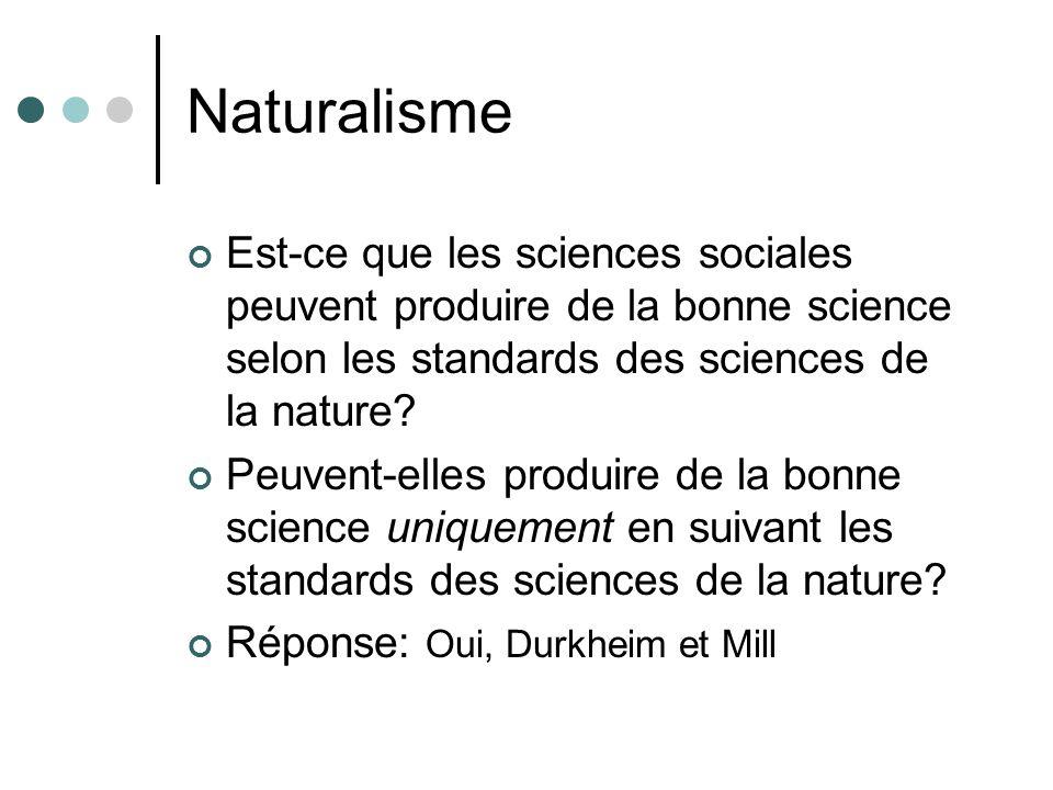 Naturalisme Est-ce que les sciences sociales peuvent produire de la bonne science selon les standards des sciences de la nature
