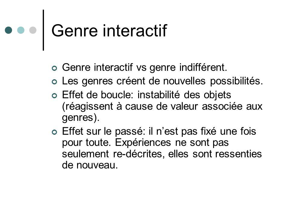Genre interactif Genre interactif vs genre indifférent.