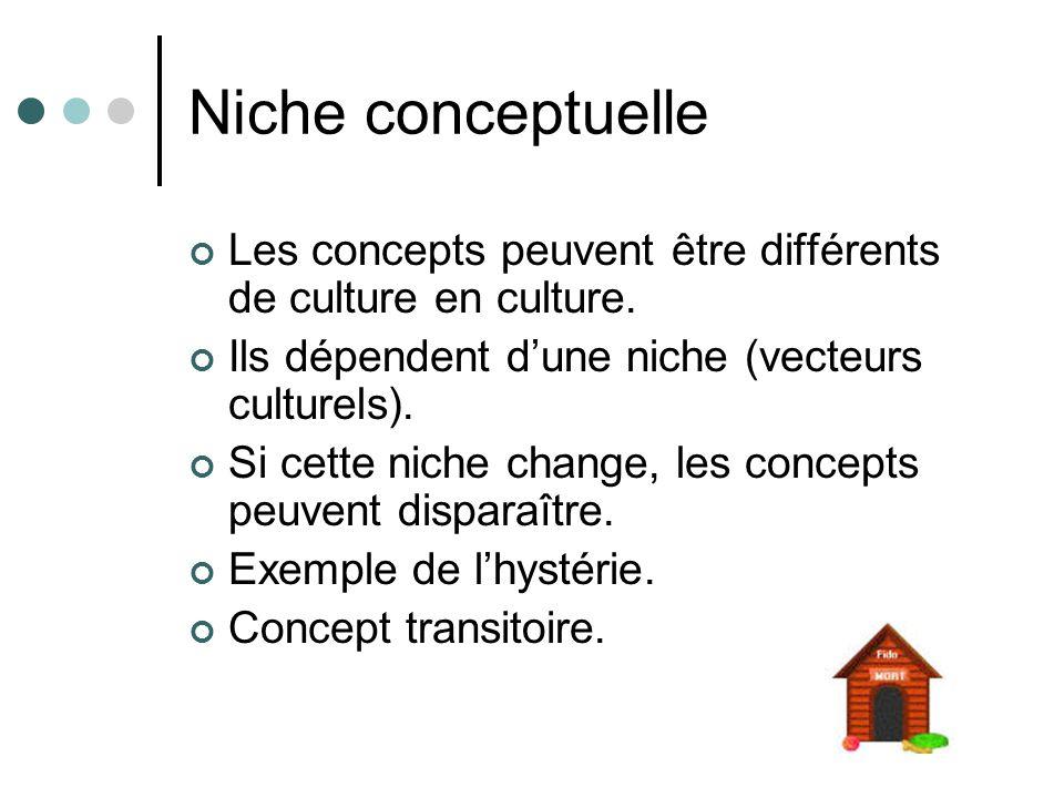 Niche conceptuelle Les concepts peuvent être différents de culture en culture. Ils dépendent d'une niche (vecteurs culturels).
