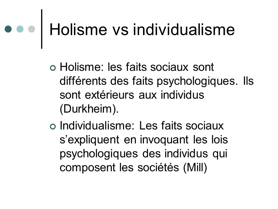 Holisme vs individualisme