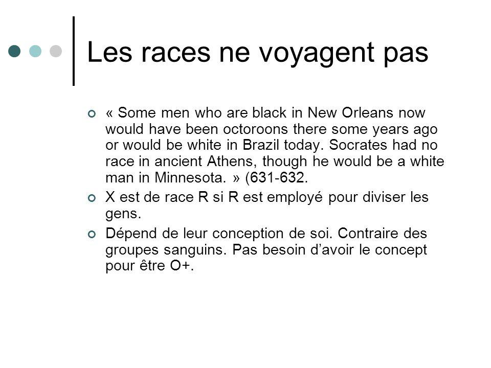 Les races ne voyagent pas
