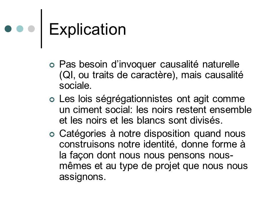 Explication Pas besoin d'invoquer causalité naturelle (QI, ou traits de caractère), mais causalité sociale.