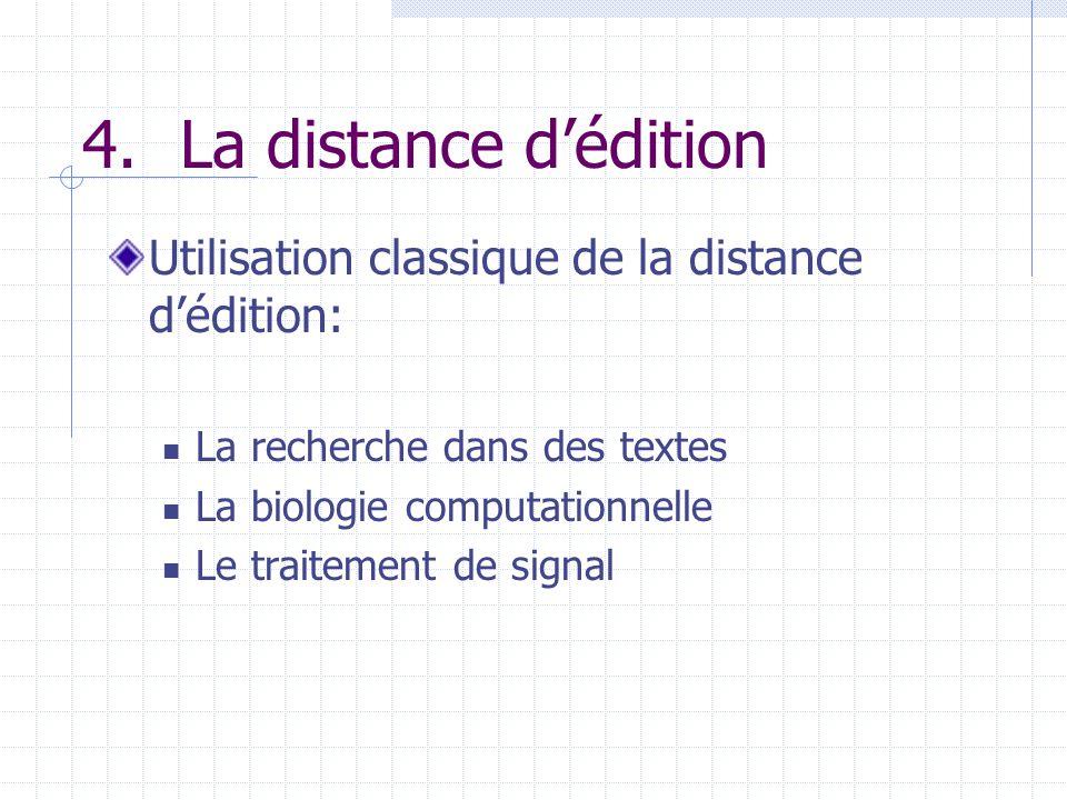 4. La distance d'édition Utilisation classique de la distance d'édition: La recherche dans des textes.