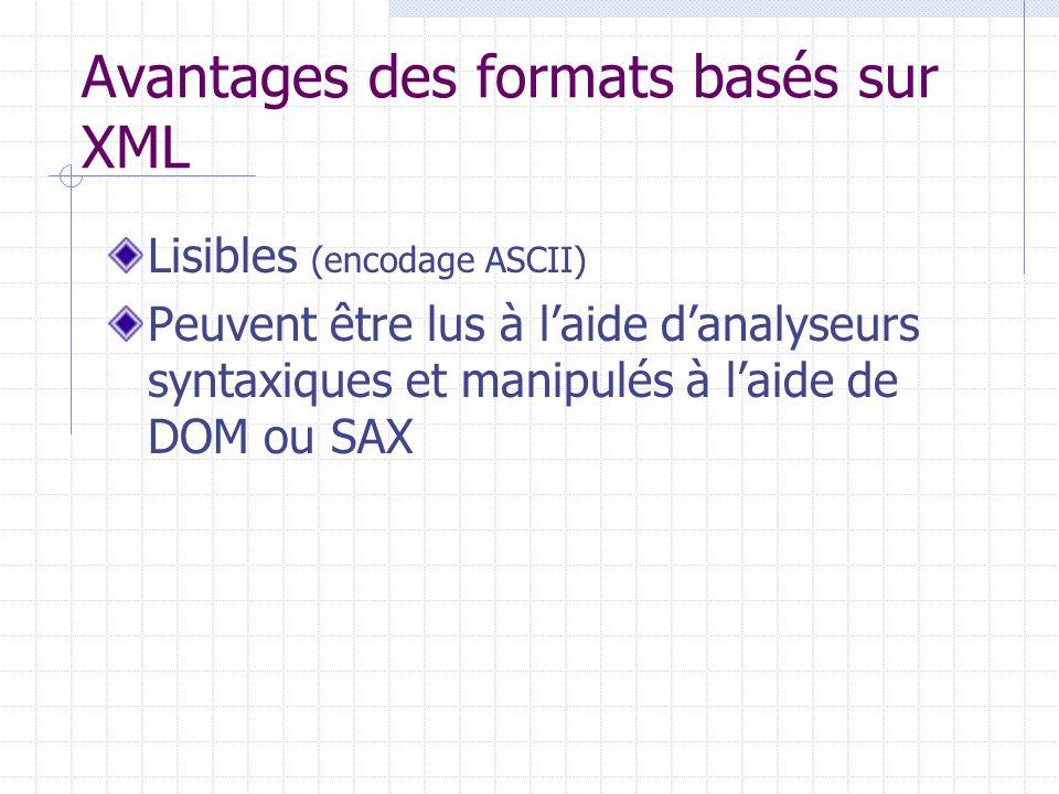 Avantages des formats basés sur XML