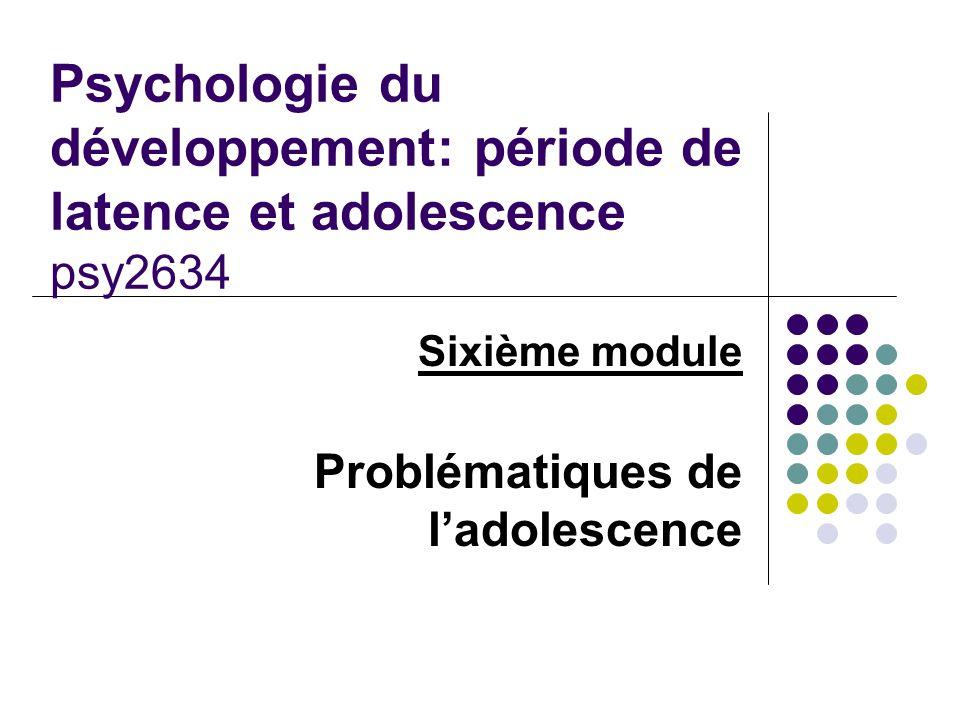 Sixième module Problématiques de l'adolescence
