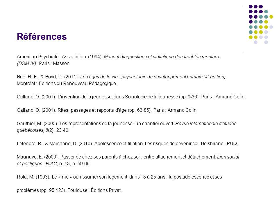 Références American Psychiatric Association. (1994). Manuel diagnostique et statistique des troubles mentaux.