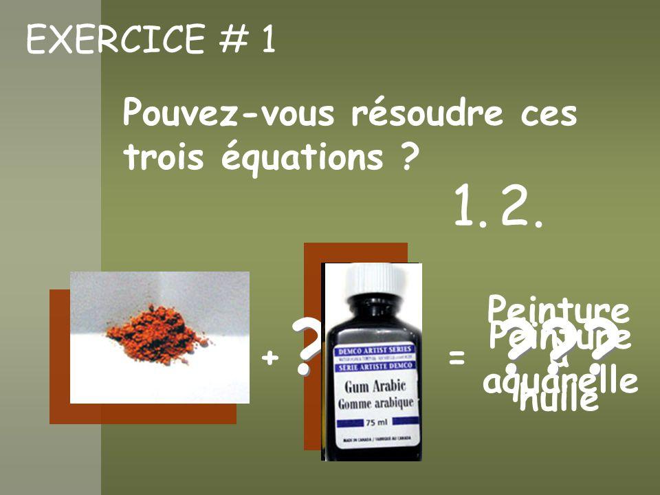 1. 2. EXERCICE # 1 Pouvez-vous résoudre ces trois équations