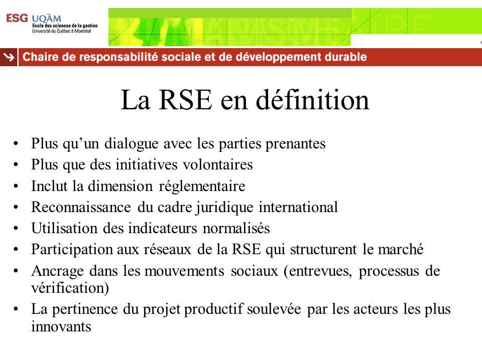 La RSE en définition Plus qu'un dialogue avec les parties prenantes