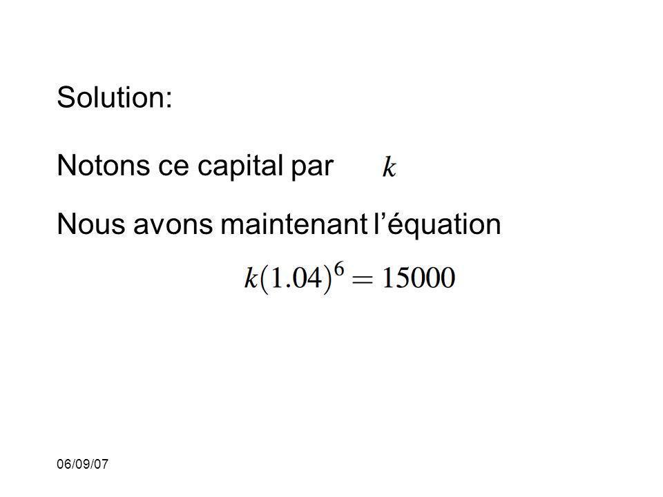 Nous avons maintenant l'équation