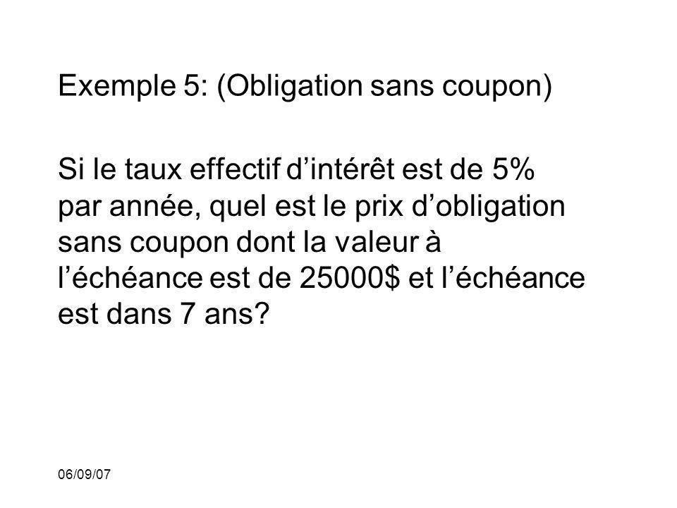 Exemple 5: (Obligation sans coupon)